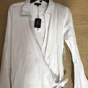 Bobeau for Stitch Fix White Wrap Blouse - NWT - M